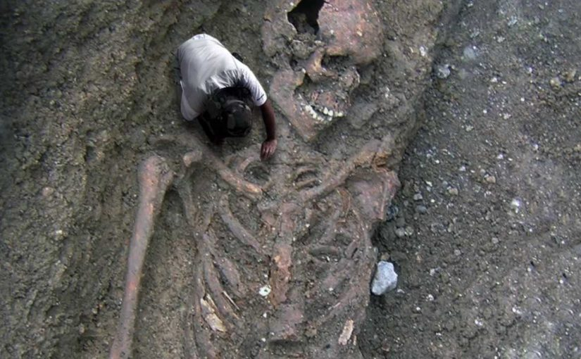 Ancient Giant Human Skeleton.  Unusually large remains, allegedly scientists have discovered in Bulgaria.