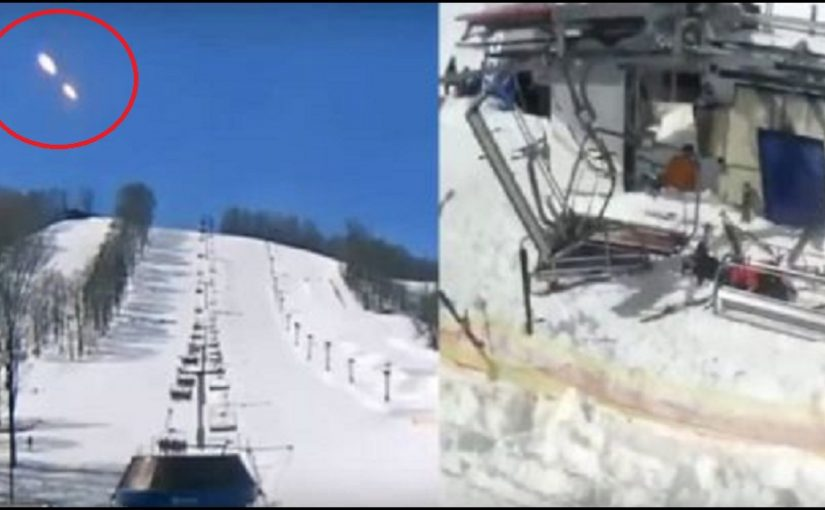 UFO? Really odd pair of lights appear in live feed camera of a ski resort looking up a slope.