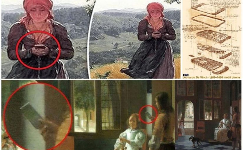 The mysterious painting of 1860 with a woman holding an iPhone. Leonardo Da Vinci (1466) – Pieter de Hooch (1670). The iPhone existed 350 years ago?