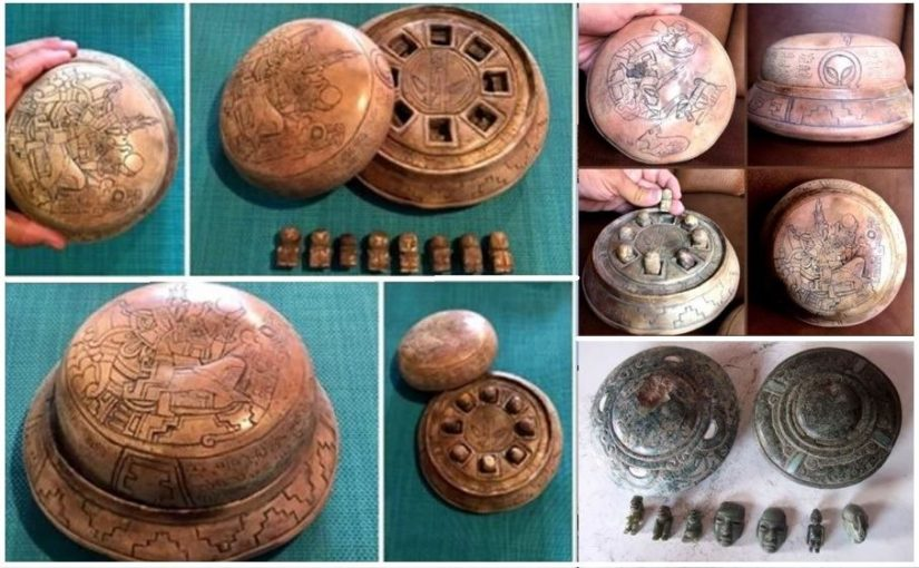 NEW PHOTOS: A collection of recently discovered Mayan artifacts, clay and stone disc UFOs.