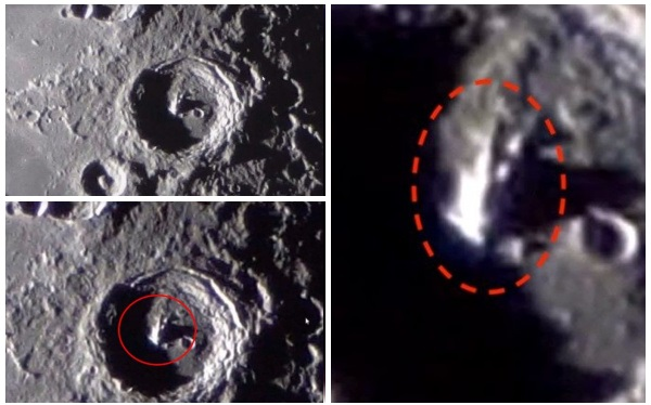 Photos and Videos: Moon ,Mysterious 4 km-high structure appears inside a crater.