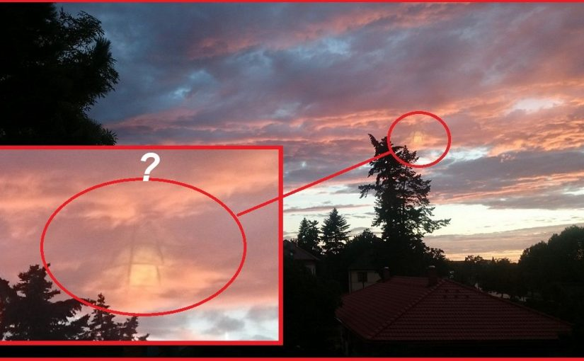 A mysterious glass pyramid photographed in the sky in the Czech Republic.